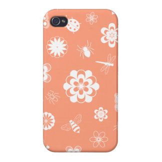 White Vector Bugs & Flowers (Version B Orange) iPhone 4/4S Cover
