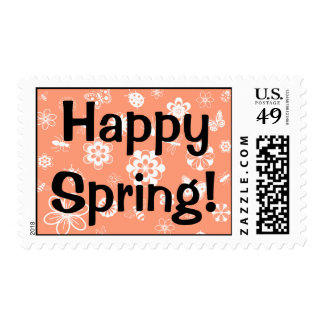 White Vector Bugs & Flowers (Version B Orange) Postage