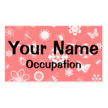 White Vector Bugs & Flowers (Version B Poppy Red) Business Card