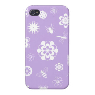 White Vector Bugs & Flowers (Version B Purple) iPhone 4 Cases