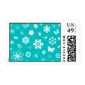 White Vector Bugs & Flowers (Version B Purple) Postage