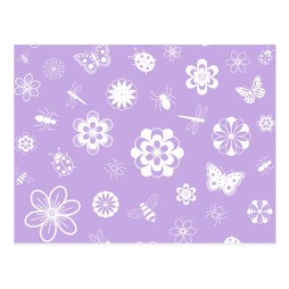 White Vector Bugs & Flowers (Version B Purple) Postcard