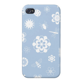 White Vector Bugs & Flowers (Version B Sky Blue) iPhone 4/4S Cases