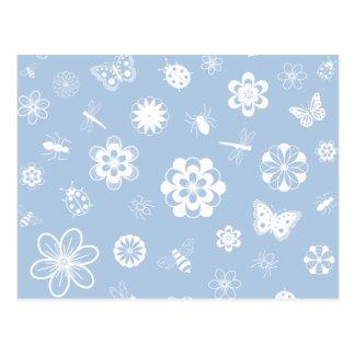 White Vector Bugs & Flowers (Version B Sky Blue) Postcard