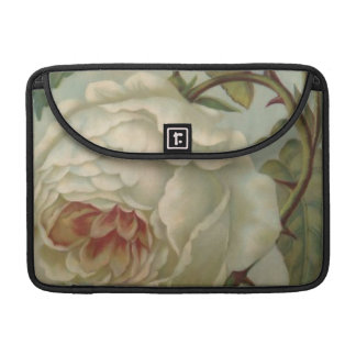 """White Victorian Rose/Floral MacBook Pro 13"""" Sleeve"""