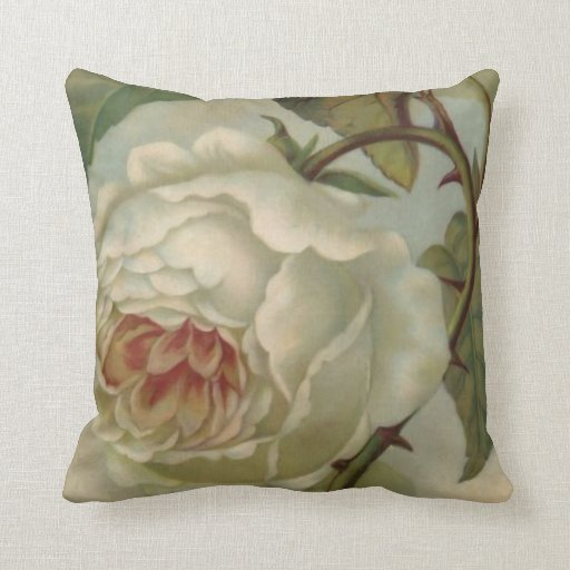 Victorian Floral Pillows : White Victorian Rose Throw Pillow English Floral Zazzle