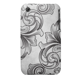 White Victorian Scroll iPhone 3/3GS Case