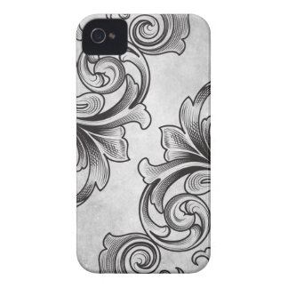 White Victorian Scroll iPhone 4/4S Case