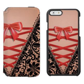 White Vintage Damask Lace Corset Bridal Lingerie iPhone 6/6s Wallet Case