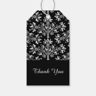 White Vintage Damask Pattern Custom Thank You Tag Pack Of Gift Tags