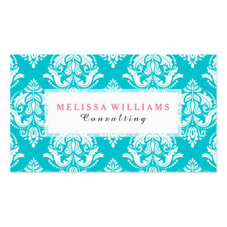 White Vintage Damasks On Turquoise Background Business Card