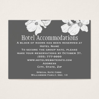 White Vintage Dogwood Hotel Accommodation Cards