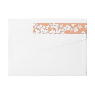 White Vintage Dogwood on Apricot Personalized Wrap Around Label