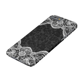 White Vintage Floral Lace Black Damasks 2 Barely There iPhone 6 Case
