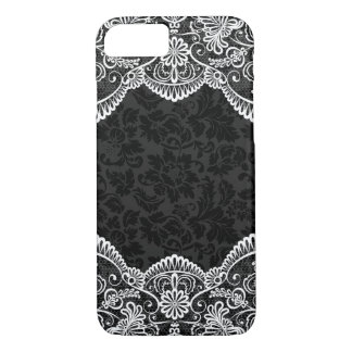 White Vintage Floral Lace Black Damasks 2 iPhone 8/7 Case