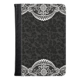 White Vintage Floral Lace Black Damasks Kindle Case