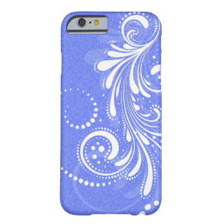 White Vintage Floral Swirl Blue Damasks Barely There iPhone 6 Case