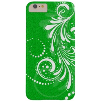 White Vintage Floral Swirl-Green Damasks Barely There iPhone 6 Plus Case