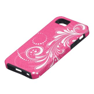 White Vintage Floral Swirl-Pink Damasks iPhone 5 Cover