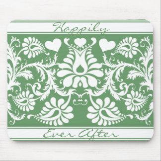 White Vintage Floral Wedding Favors Mouse Pad