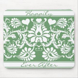 White Vintage Floral Wedding Favors Mouse Pads