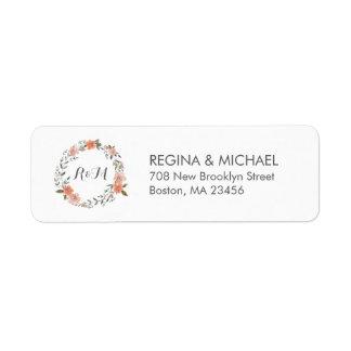White Vintage Floral Wreath Monogram Address Label