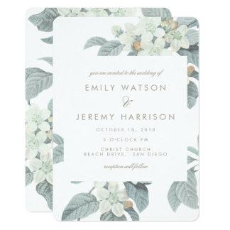 White Vintage Flower Blossoms Wedding Invitation