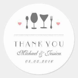 White Vintage Fork Spoon Wedding Thank You Sticker
