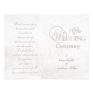 White vintage grungy wedding programs