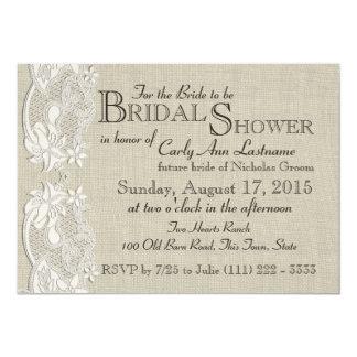 White Vintage Lace and Burlap Design Bridal Shower Announcements