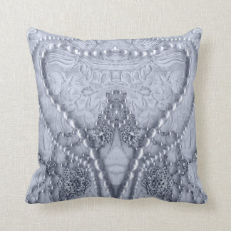 White Vintage Lace And Purls Abstract Heart Throw Pillow