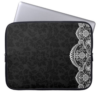 White Vintage Lace Black Damasks Laptop Sleeve