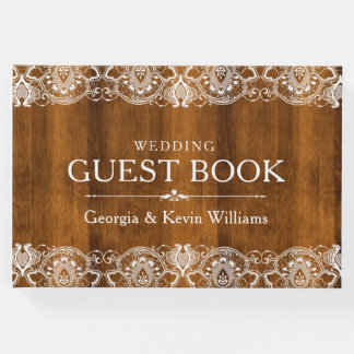 White Vintage Lace On Brown Wood Texture Guest Book