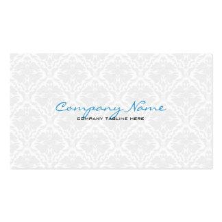White Vintage Orante Floral Damasks  Pattern Business Card Template