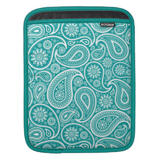 White Vintage Paisley On Blue-Green Background Sleeve For iPads