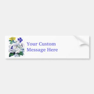 White Vintage Rose Bumper Sticker