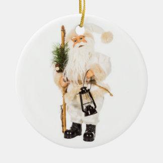 WHITE VINTAGE SANTA CHRISTMAS ORNAMENT