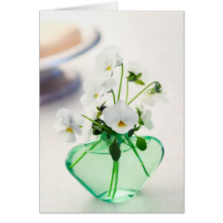 White Violas Flowers Green Vase Floral Pansy Greeting Card