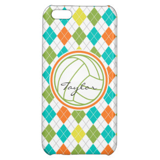 White Volleyball on Colorful Argyle Pattern iPhone 5C Cases