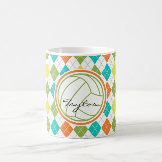 White Volleyball on Colorful Argyle Pattern Coffee Mugs