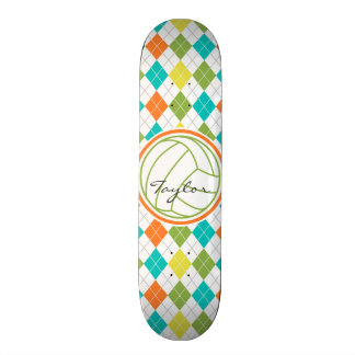 White Volleyball on Colorful Argyle Pattern Custom Skate Board