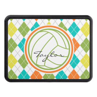 White Volleyball on Colorful Argyle Pattern Trailer Hitch Cover