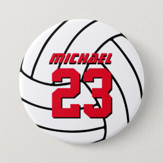 White Volleyball Sports Team Button Pin