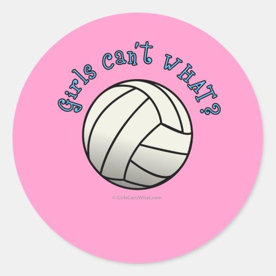 White Volleyball Team Classic Round Sticker
