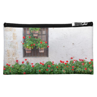White Wall and Network Flowers Cosmetic Bag