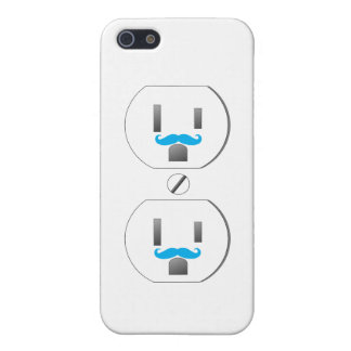 White Wall Outlet w/Blue Mustache Design iPhone 5 Cover For iPhone 5/5S