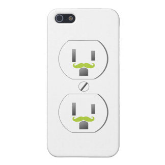 White Wall Outlet w/Green Mustache Design iPhone 5 iPhone 5 Covers