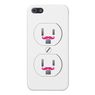 White Wall Outlet w/Pink Mustache Design iPhone 5 Cover For iPhone 5
