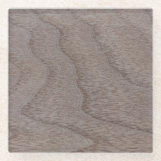 White Walnut Wood Grain Look Glass Coaster