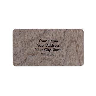 White Walnut Wood Grain Look Label